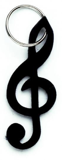 Porte clef souple forme clé de sol,  noir