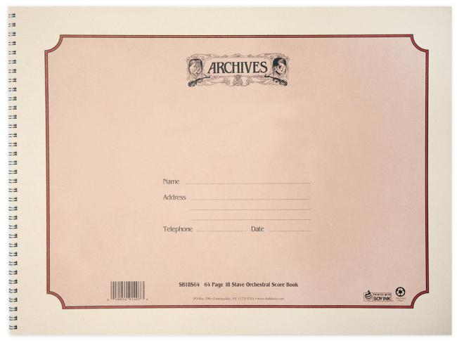 Cahier à spirales 18 portées -Format 305x406mm 64 feuilles